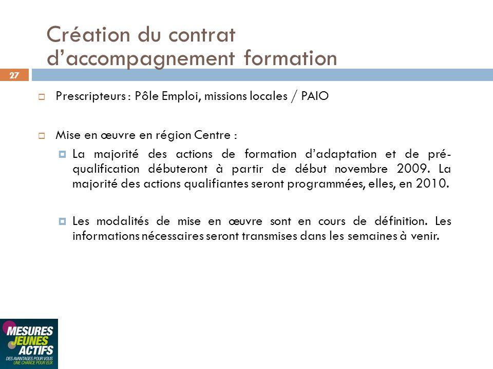 27 Prescripteurs : Pôle Emploi, missions locales / PAIO Mise en œuvre en région Centre : La majorité des actions de formation dadaptation et de pré- q