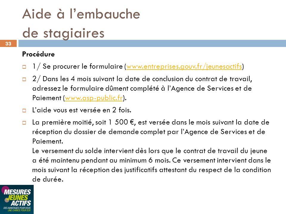 33 Procédure 1/ Se procurer le formulaire (www.entreprises.gouv.fr/jeunesactifs)www.entreprises.gouv.fr/jeunesactifs 2/ Dans les 4 mois suivant la dat