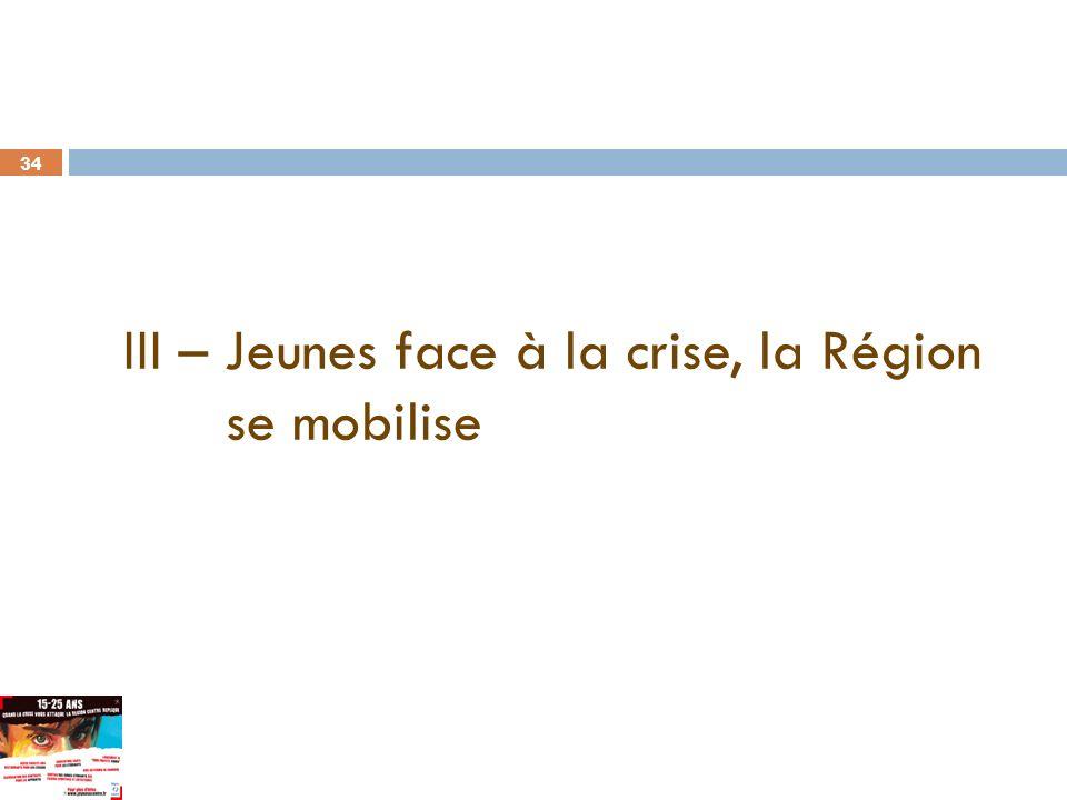 34 III – Jeunes face à la crise, la Région se mobilise