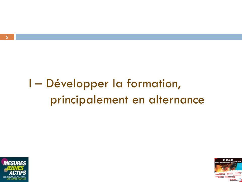 5 I – Développer la formation, principalement en alternance