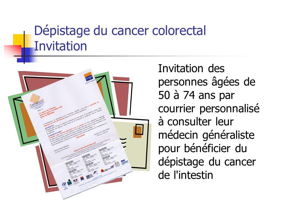 Invitation des personnes âgées de 50 à 74 ans par courrier personnalisé à consulter leur médecin généraliste pour bénéficier du dépistage du cancer de l intestin Dépistage du cancer colorectal Invitation