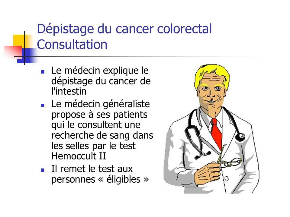 Le médecin explique le dépistage du cancer de l intestin Le médecin généraliste propose à ses patients qui le consultent une recherche de sang dans les selles par le test Hemoccult II Il remet le test aux personnes « éligibles » Dépistage du cancer colorectal Consultation