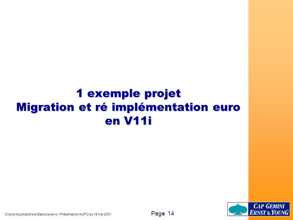 Oracle Applications et Bascule euro - Présentation AUFO du 18 mai 2001 Page 14 1 exemple projet Migration et ré implémentation euro en V11i