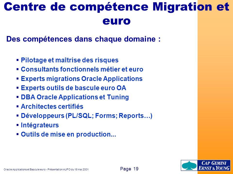 Oracle Applications et Bascule euro - Présentation AUFO du 18 mai 2001 Page 19 Centre de compétence Migration et euro Des compétences dans chaque doma
