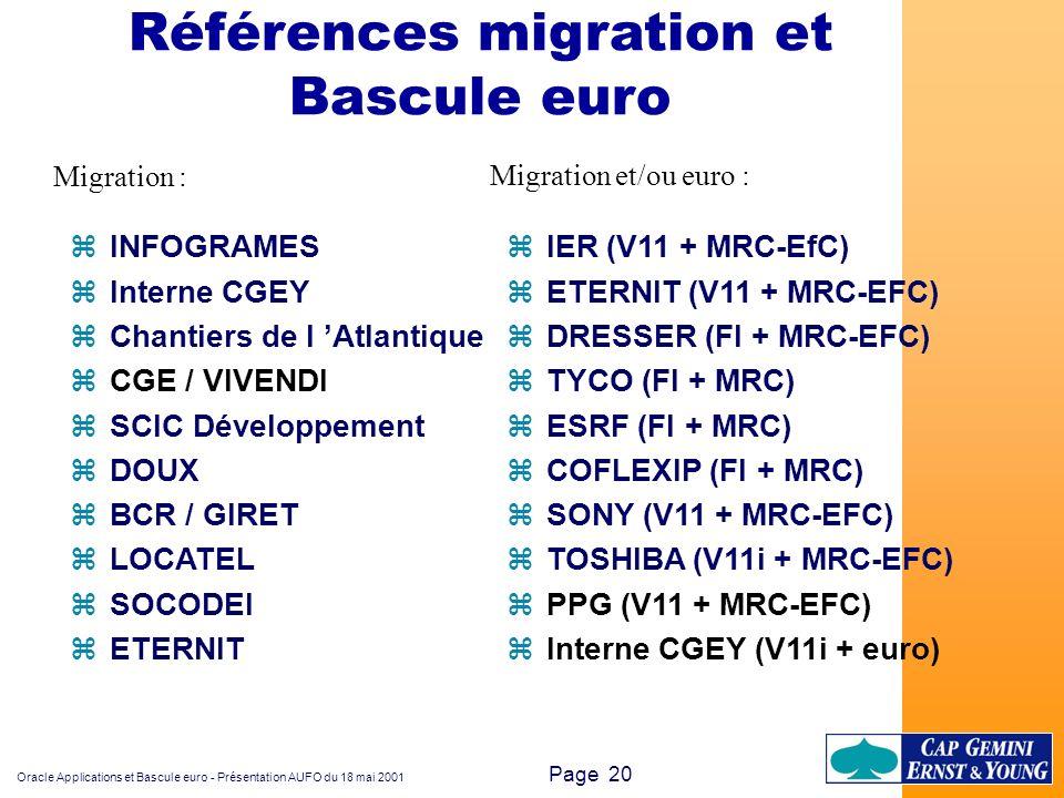 Oracle Applications et Bascule euro - Présentation AUFO du 18 mai 2001 Page 20 zINFOGRAMES zInterne CGEY zChantiers de l Atlantique zCGE / VIVENDI zSC