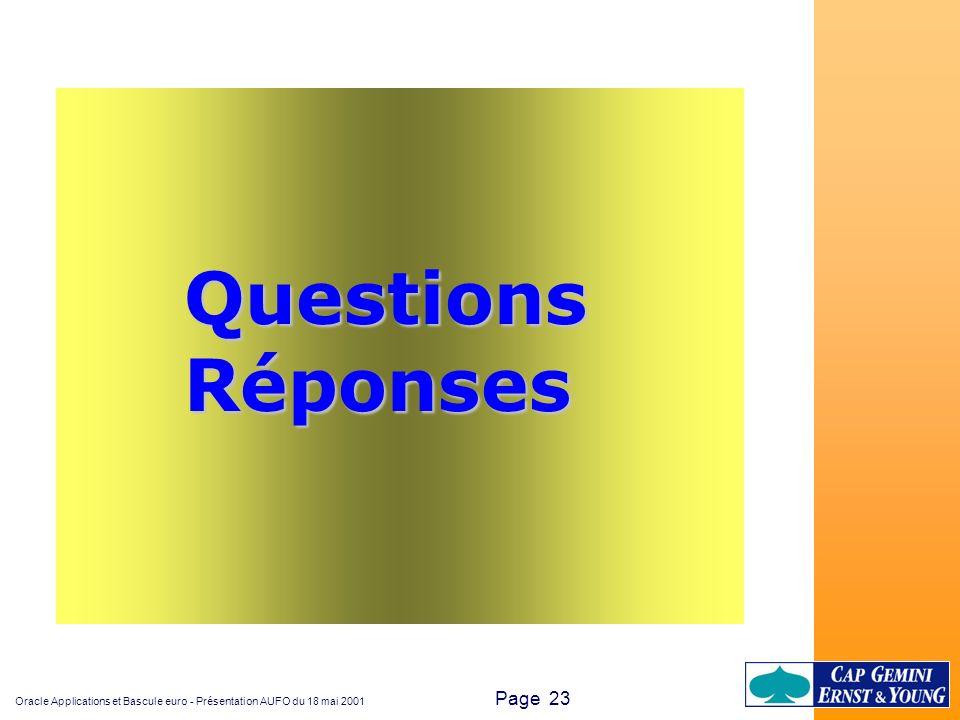 Oracle Applications et Bascule euro - Présentation AUFO du 18 mai 2001 Page 23 QuestionsRéponses