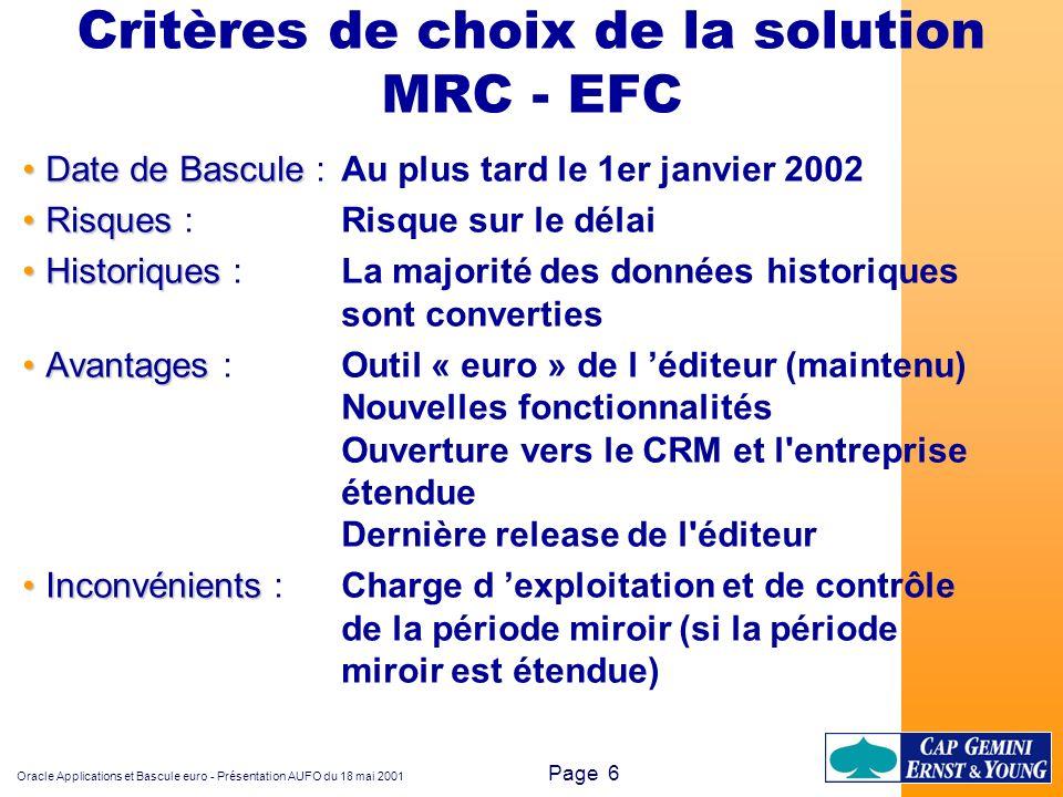 Oracle Applications et Bascule euro - Présentation AUFO du 18 mai 2001 Page 6 Critères de choix de la solution MRC - EFC Date de BasculeDate de Bascul