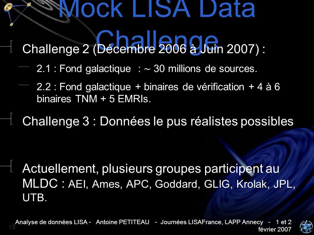 Analyse de données LISA - Antoine PETITEAU - Journées LISAFrance, LAPP Annecy - 1 et 2 février 2007 13 Mock LISA Data Challenge Challenge 2 (Décembre