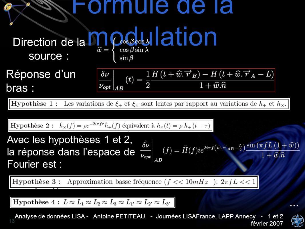 Analyse de données LISA - Antoine PETITEAU - Journées LISAFrance, LAPP Annecy - 1 et 2 février 2007 16 Formule de la modulation Direction de la source