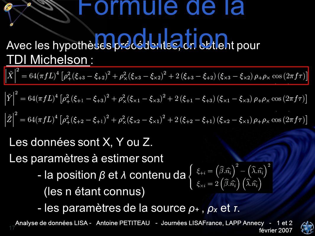 Analyse de données LISA - Antoine PETITEAU - Journées LISAFrance, LAPP Annecy - 1 et 2 février 2007 17 Avec les hypothèses précédentes, on obtient pou