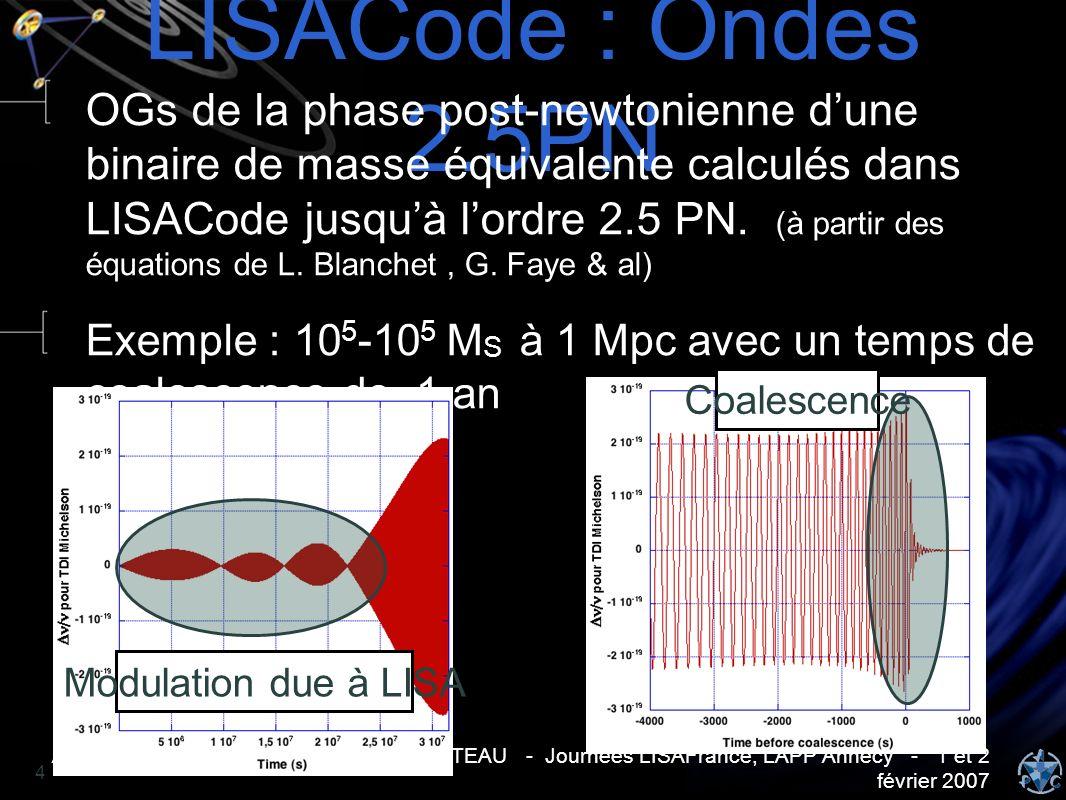 Analyse de données LISA - Antoine PETITEAU - Journées LISAFrance, LAPP Annecy - 1 et 2 février 2007 4 LISACode : Ondes 2.5PN OGs de la phase post-newt