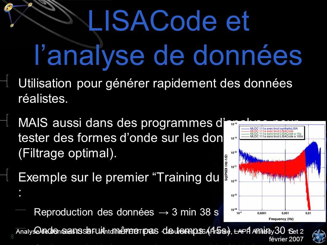 Analyse de données LISA - Antoine PETITEAU - Journées LISAFrance, LAPP Annecy - 1 et 2 février 2007 8 LISACode et lanalyse de données Utilisation pour