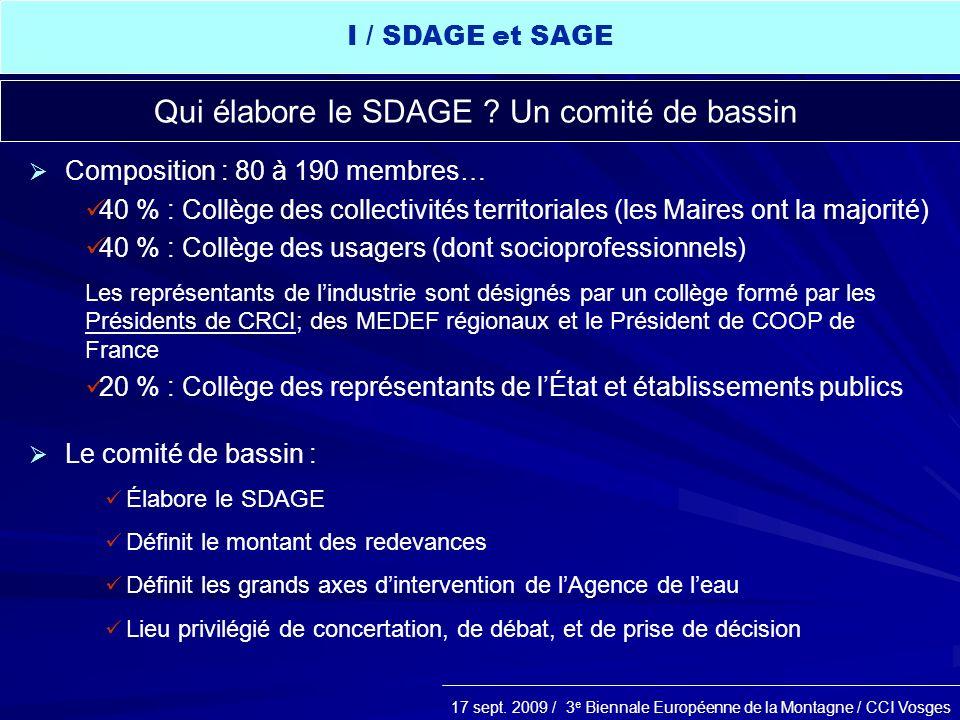 17 sept. 2009 / 3 e Biennale Européenne de la Montagne / CCI Vosges Qui élabore le SDAGE ? Un comité de bassin Composition : 80 à 190 membres… 40 % :
