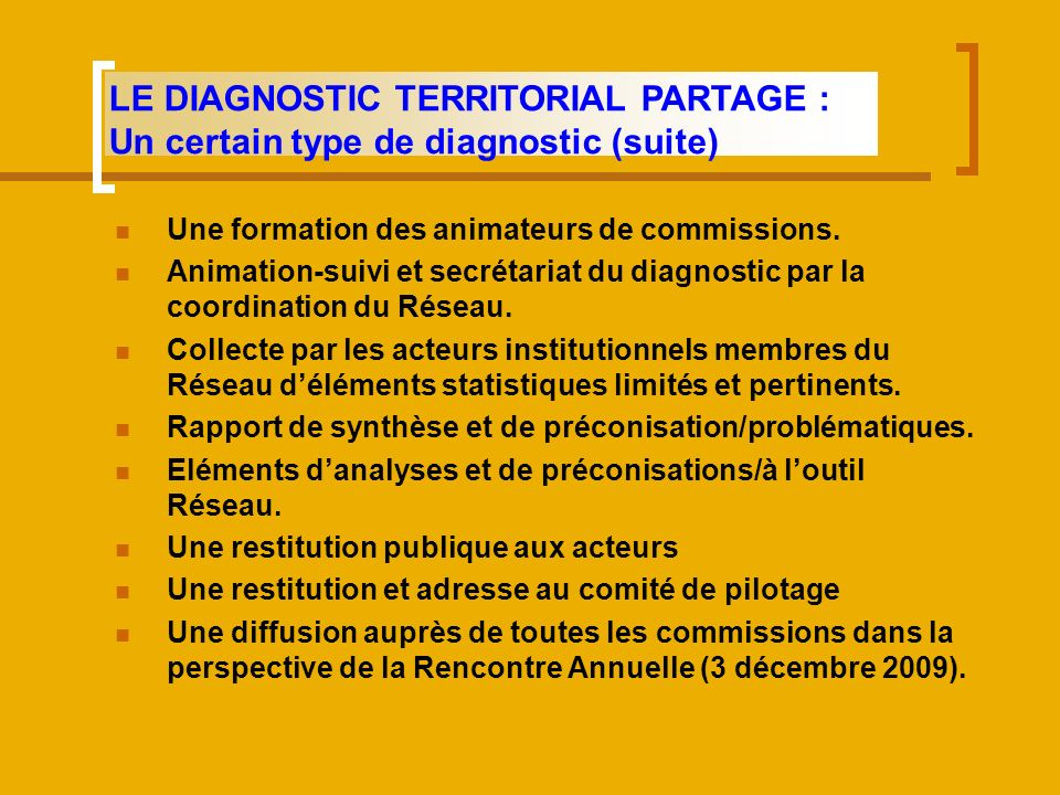 Une formation des animateurs de commissions. Animation-suivi et secrétariat du diagnostic par la coordination du Réseau. Collecte par les acteurs inst