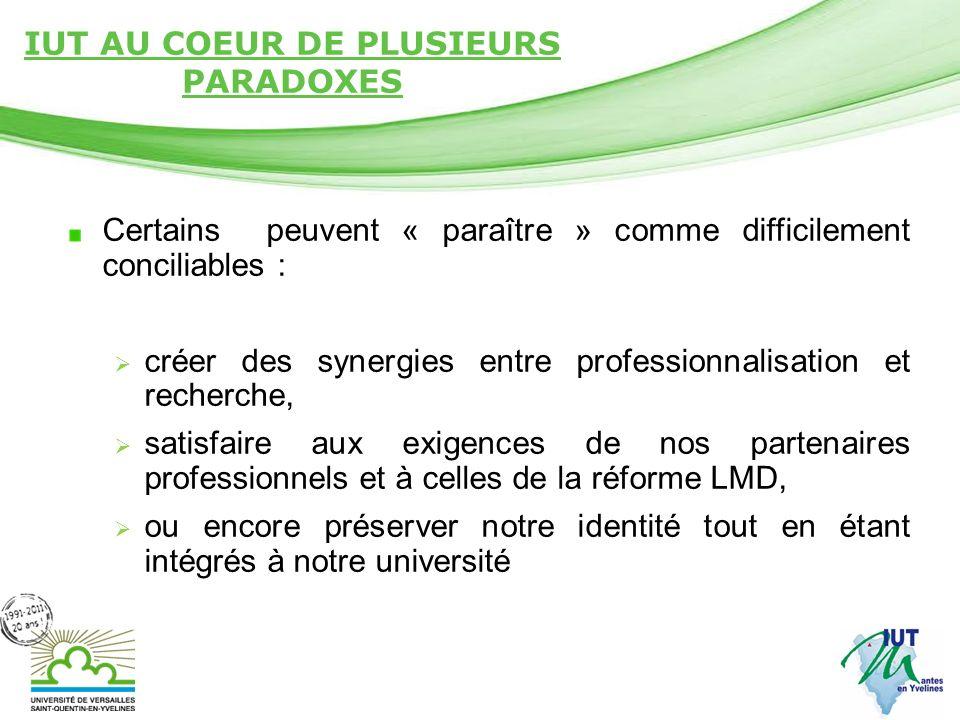 Page 15 IUT AU COEUR DE PLUSIEURS PARADOXES Certains peuvent « paraître » comme difficilement conciliables : créer des synergies entre professionnalis