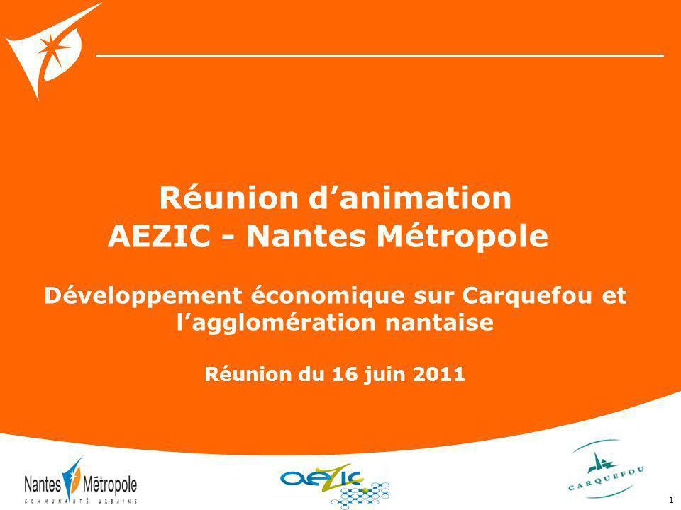 1 Réunion danimation AEZIC - Nantes Métropole Développement économique sur Carquefou et lagglomération nantaise Réunion du 16 juin 2011
