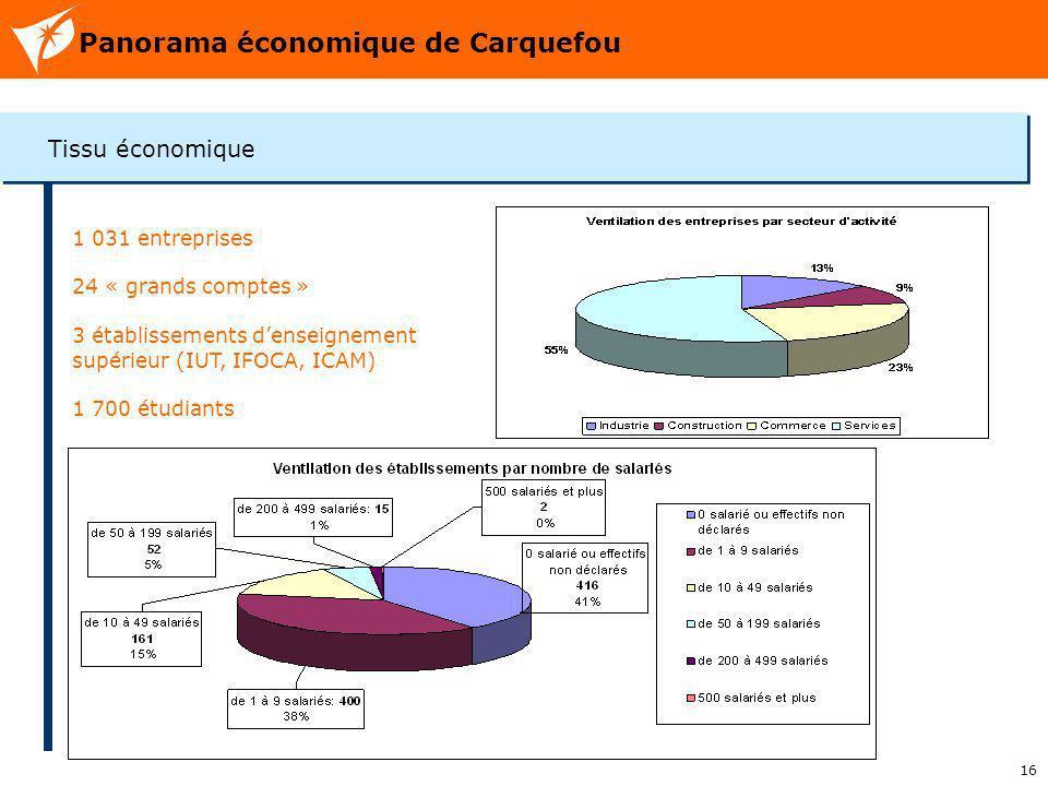 16 Panorama économique de Carquefou Tissu économique 1 031 entreprises 24 « grands comptes » 3 établissements denseignement supérieur (IUT, IFOCA, ICA