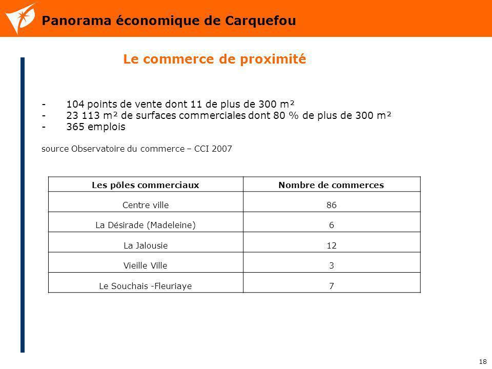 18 Panorama économique de Carquefou - 104 points de vente dont 11 de plus de 300 m² - 23 113 m² de surfaces commerciales dont 80 % de plus de 300 m² -