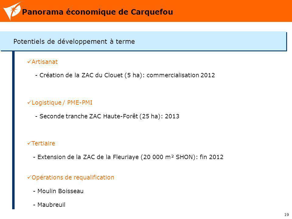 19 Panorama économique de Carquefou Potentiels de développement à terme Artisanat - Création de la ZAC du Clouet (5 ha): commercialisation 2012 Logist
