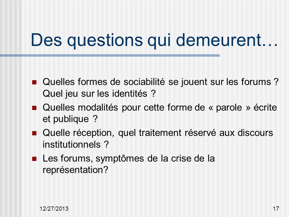 Des questions qui demeurent… Quelles formes de sociabilité se jouent sur les forums .
