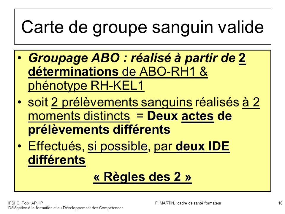 IFSI C. Foix, AP HP Délégation à la formation et au Développement des Compétences F. MARTIN, cadre de santé formateur10 Carte de groupe sanguin valide