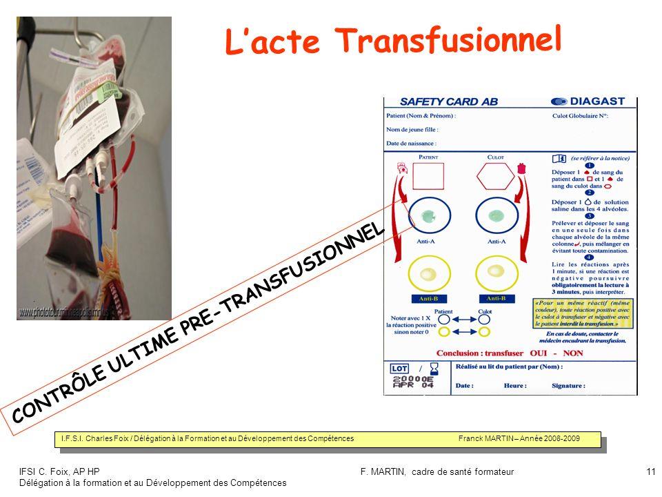 IFSI C. Foix, AP HP Délégation à la formation et au Développement des Compétences F. MARTIN, cadre de santé formateur11 Lacte Transfusionnel CONTRÔLE