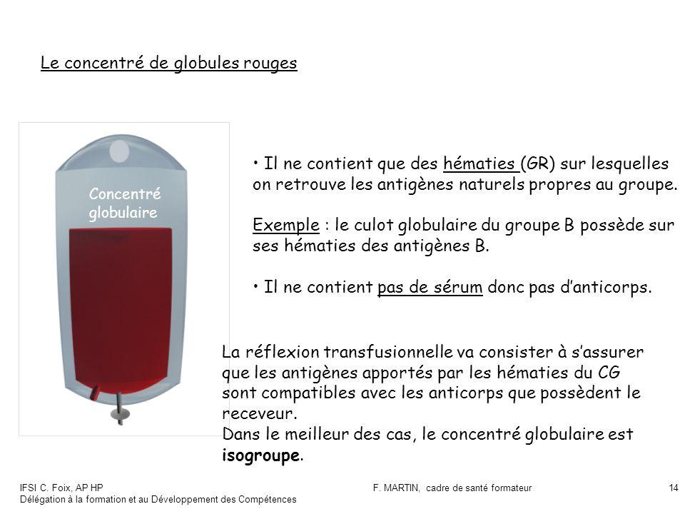 IFSI C. Foix, AP HP Délégation à la formation et au Développement des Compétences F. MARTIN, cadre de santé formateur14 Le concentré de globules rouge