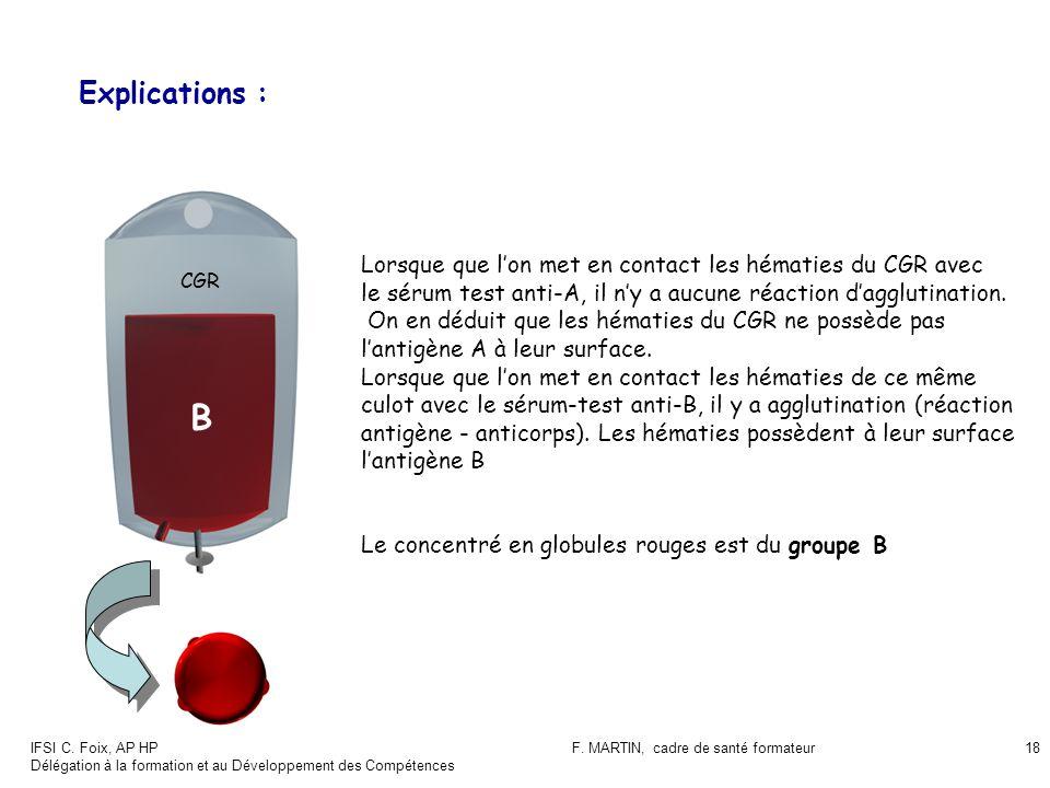 IFSI C. Foix, AP HP Délégation à la formation et au Développement des Compétences F. MARTIN, cadre de santé formateur18 Explications : CGR B Lorsque q
