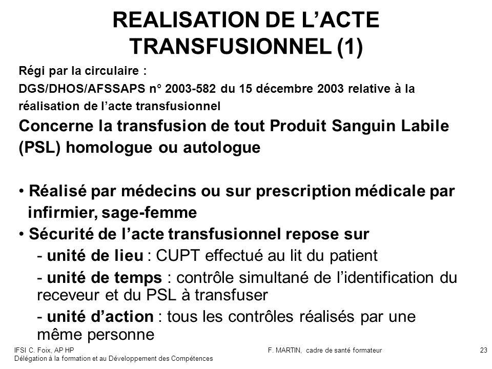IFSI C. Foix, AP HP Délégation à la formation et au Développement des Compétences F. MARTIN, cadre de santé formateur23 REALISATION DE LACTE TRANSFUSI