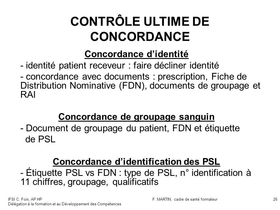 IFSI C. Foix, AP HP Délégation à la formation et au Développement des Compétences F. MARTIN, cadre de santé formateur26 CONTRÔLE ULTIME DE CONCORDANCE