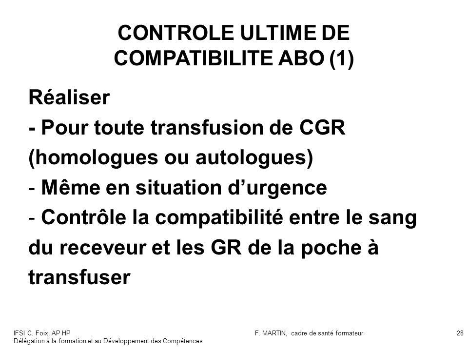 IFSI C. Foix, AP HP Délégation à la formation et au Développement des Compétences F. MARTIN, cadre de santé formateur28 CONTROLE ULTIME DE COMPATIBILI