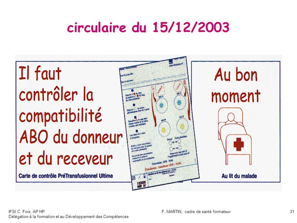 IFSI C. Foix, AP HP Délégation à la formation et au Développement des Compétences F. MARTIN, cadre de santé formateur31 circulaire du 15/12/2003