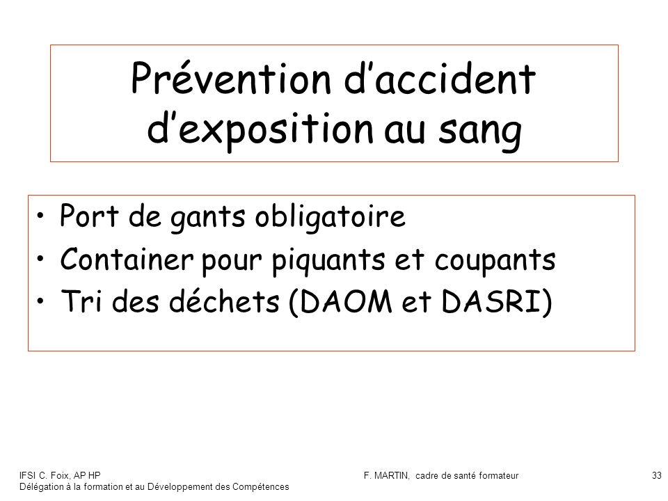 IFSI C. Foix, AP HP Délégation à la formation et au Développement des Compétences F. MARTIN, cadre de santé formateur33 Prévention daccident dexpositi