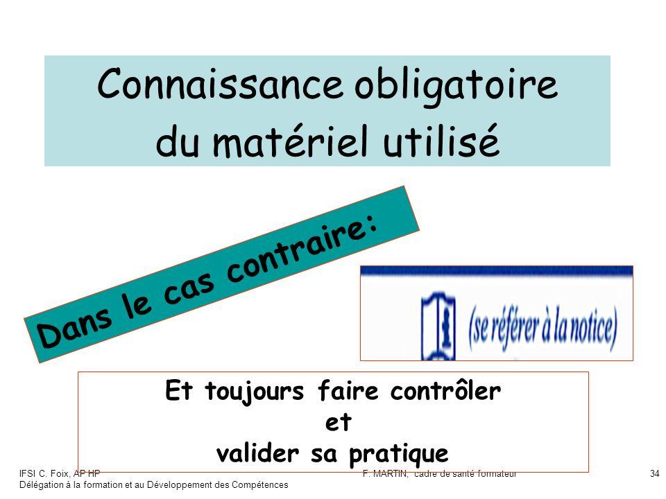 IFSI C. Foix, AP HP Délégation à la formation et au Développement des Compétences F. MARTIN, cadre de santé formateur34 Connaissance obligatoire du ma