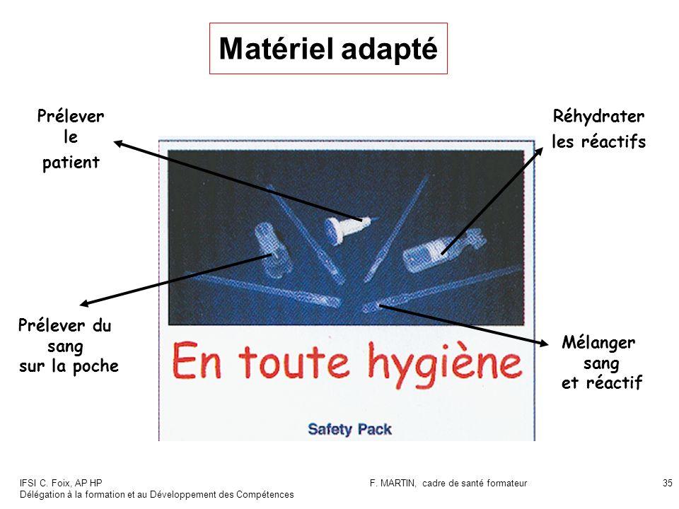 IFSI C. Foix, AP HP Délégation à la formation et au Développement des Compétences F. MARTIN, cadre de santé formateur35 Matériel adapté Prélever le pa