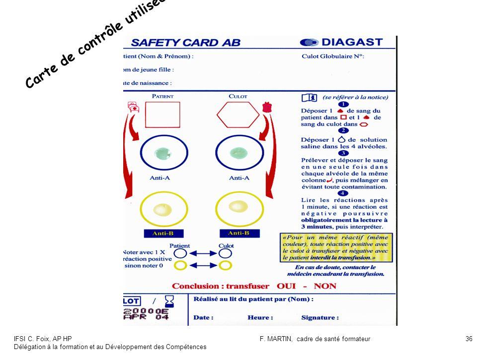 IFSI C. Foix, AP HP Délégation à la formation et au Développement des Compétences F. MARTIN, cadre de santé formateur36 Carte de contrôle utilisée