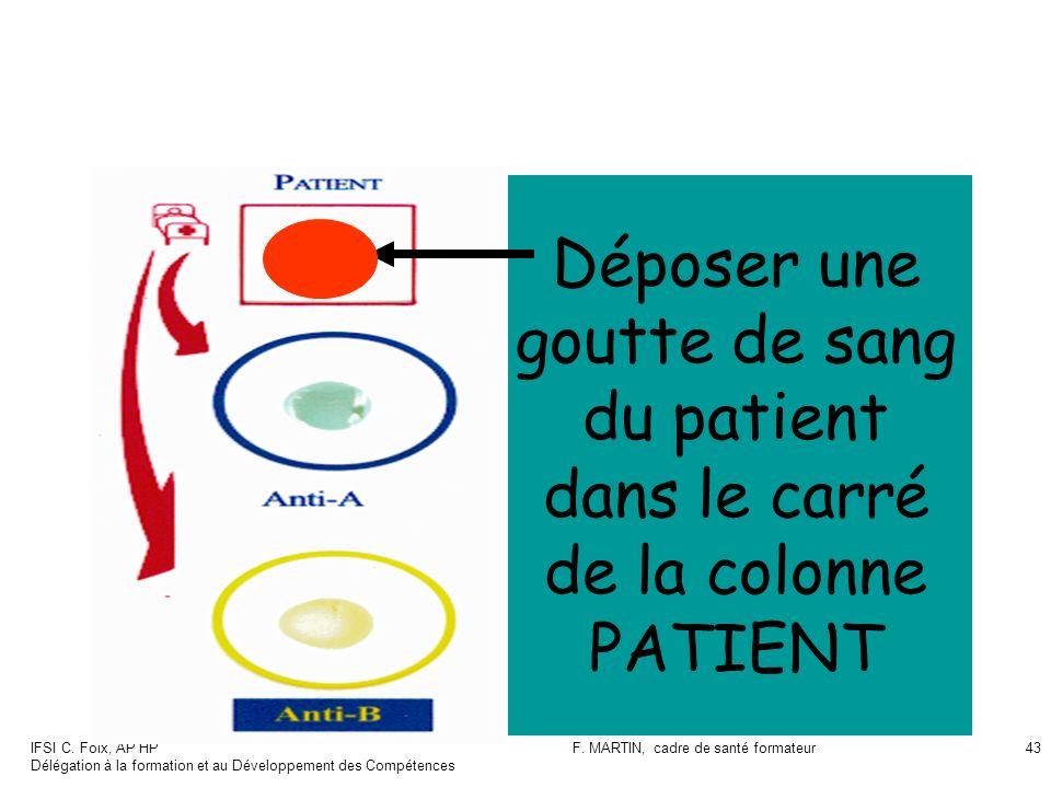 IFSI C. Foix, AP HP Délégation à la formation et au Développement des Compétences F. MARTIN, cadre de santé formateur43 Déposer une goutte de sang du