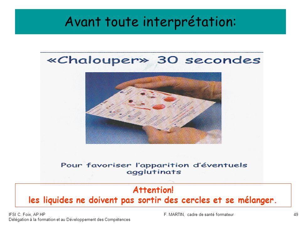 IFSI C. Foix, AP HP Délégation à la formation et au Développement des Compétences F. MARTIN, cadre de santé formateur49 Avant toute interprétation: At