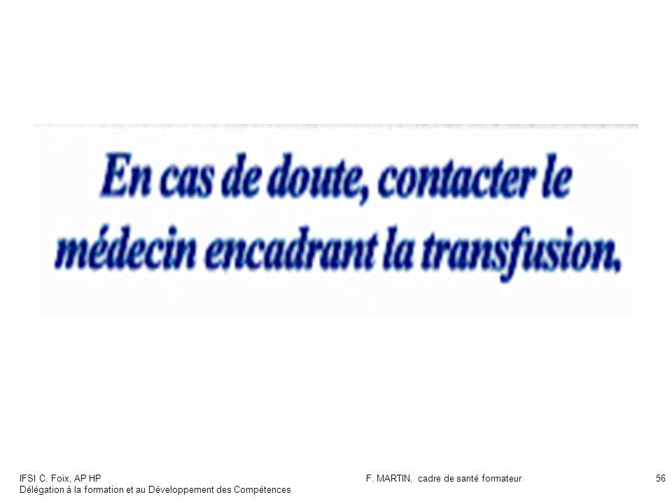 IFSI C. Foix, AP HP Délégation à la formation et au Développement des Compétences F. MARTIN, cadre de santé formateur56