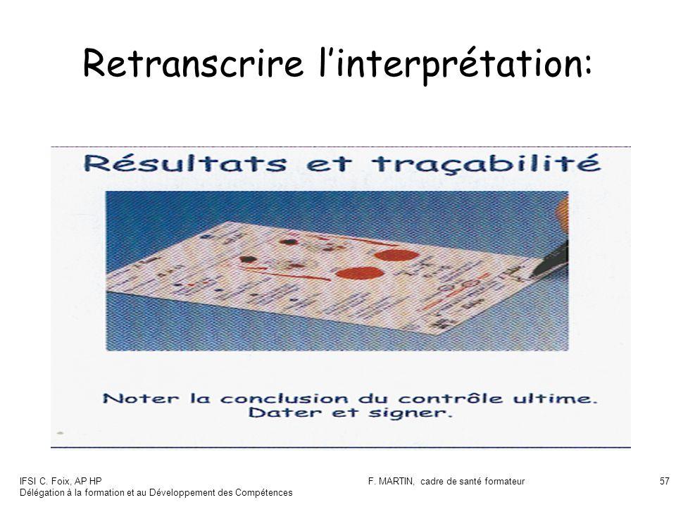 IFSI C. Foix, AP HP Délégation à la formation et au Développement des Compétences F. MARTIN, cadre de santé formateur57 Retranscrire linterprétation: