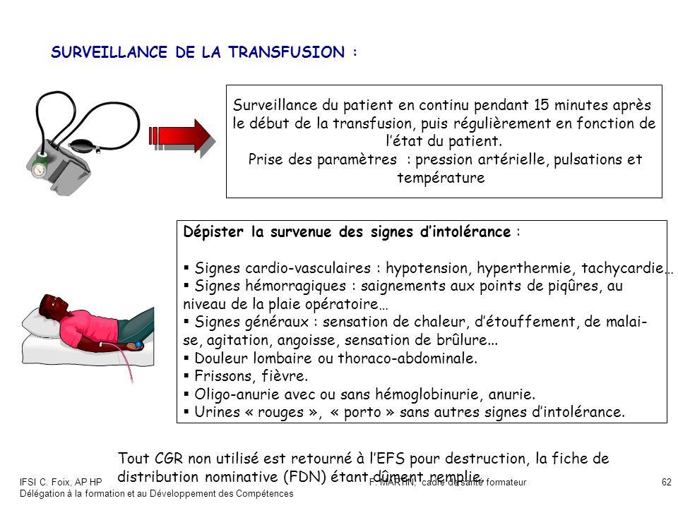 IFSI C. Foix, AP HP Délégation à la formation et au Développement des Compétences F. MARTIN, cadre de santé formateur62 SURVEILLANCE DE LA TRANSFUSION