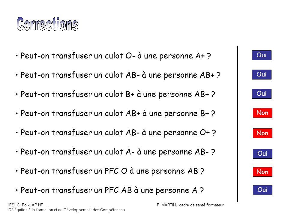 IFSI C. Foix, AP HP Délégation à la formation et au Développement des Compétences F. MARTIN, cadre de santé formateur Oui Non Oui Peut-on transfuser u