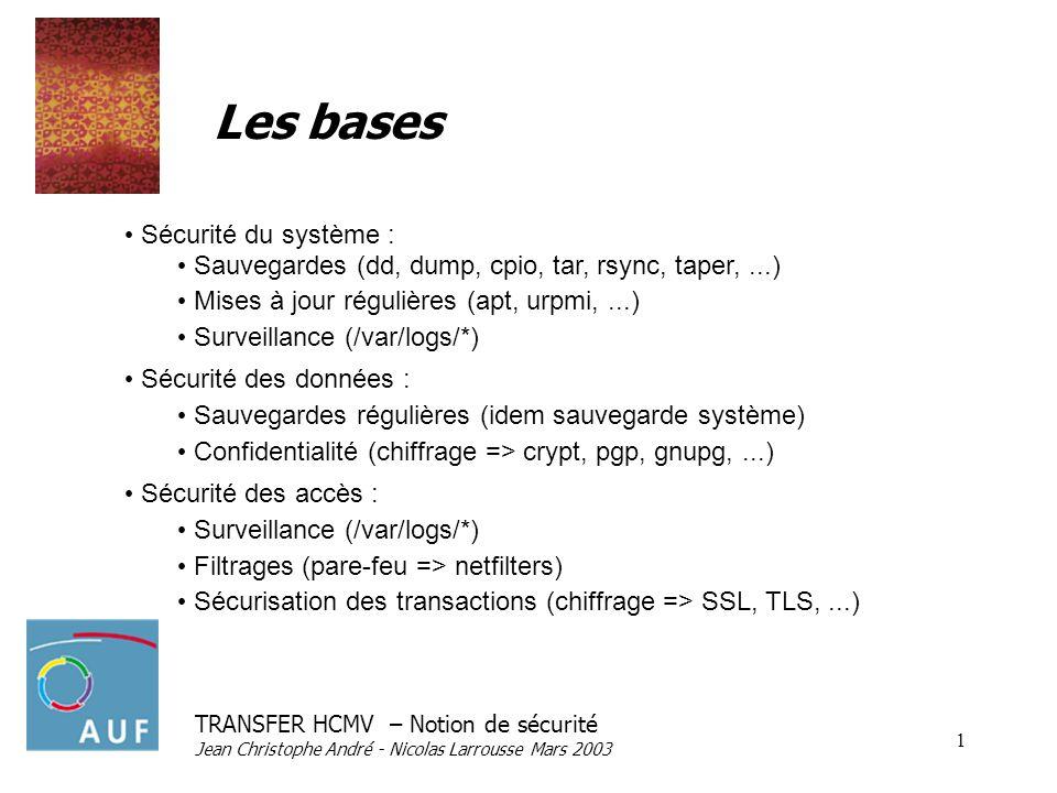 TRANSFER HCMV – Notion de sécurité Jean Christophe André - Nicolas Larrousse Mars 2003 1 Les bases Sécurité du système : Sauvegardes (dd, dump, cpio, tar, rsync, taper,...) Mises à jour régulières (apt, urpmi,...) Surveillance (/var/logs/*) Sécurité des données : Sauvegardes régulières (idem sauvegarde système) Confidentialité (chiffrage => crypt, pgp, gnupg,...) Sécurité des accès : Surveillance (/var/logs/*) Filtrages (pare-feu => netfilters) Sécurisation des transactions (chiffrage => SSL, TLS,...)