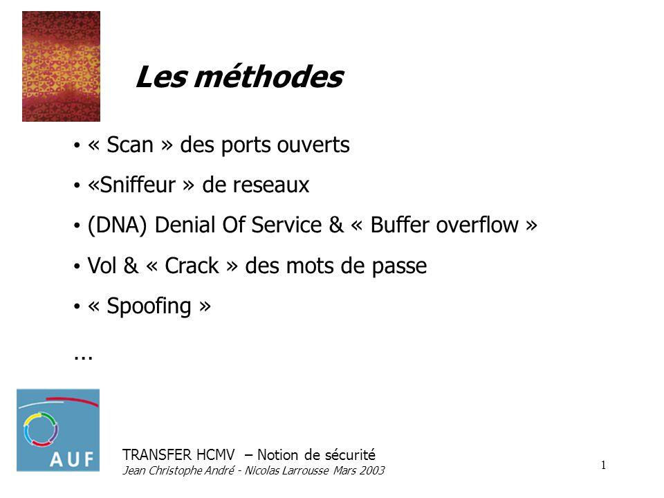 TRANSFER HCMV – Notion de sécurité Jean Christophe André - Nicolas Larrousse Mars 2003 1 Les méthodes « Scan » des ports ouverts «Sniffeur » de reseaux (DNA) Denial Of Service & « Buffer overflow » Vol & « Crack » des mots de passe « Spoofing » …