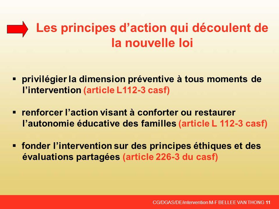 CG/DGAS/DE/intervention M-F BELLEE VAN THONG 11 Les principes daction qui découlent de la nouvelle loi privilégier la dimension préventive à tous mome