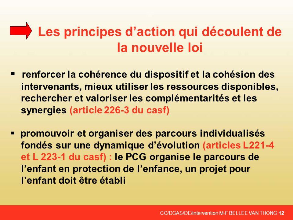 CG/DGAS/DE/intervention M-F BELLEE VAN THONG 12 Les principes daction qui découlent de la nouvelle loi renforcer la cohérence du dispositif et la cohé