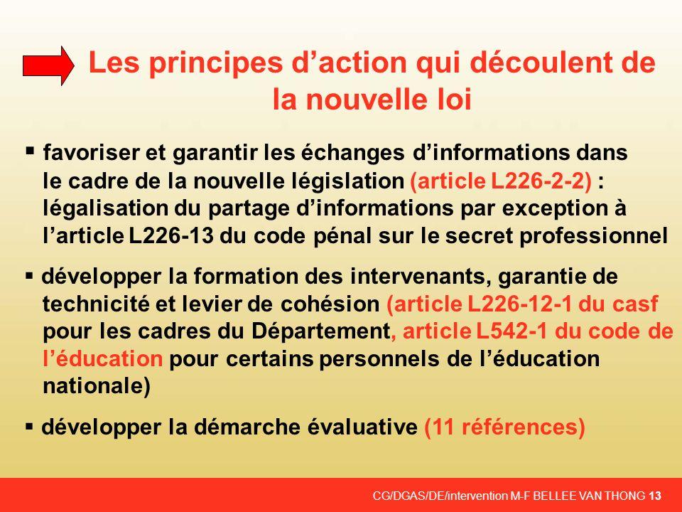 CG/DGAS/DE/intervention M-F BELLEE VAN THONG 13 Les principes daction qui découlent de la nouvelle loi favoriser et garantir les échanges dinformation