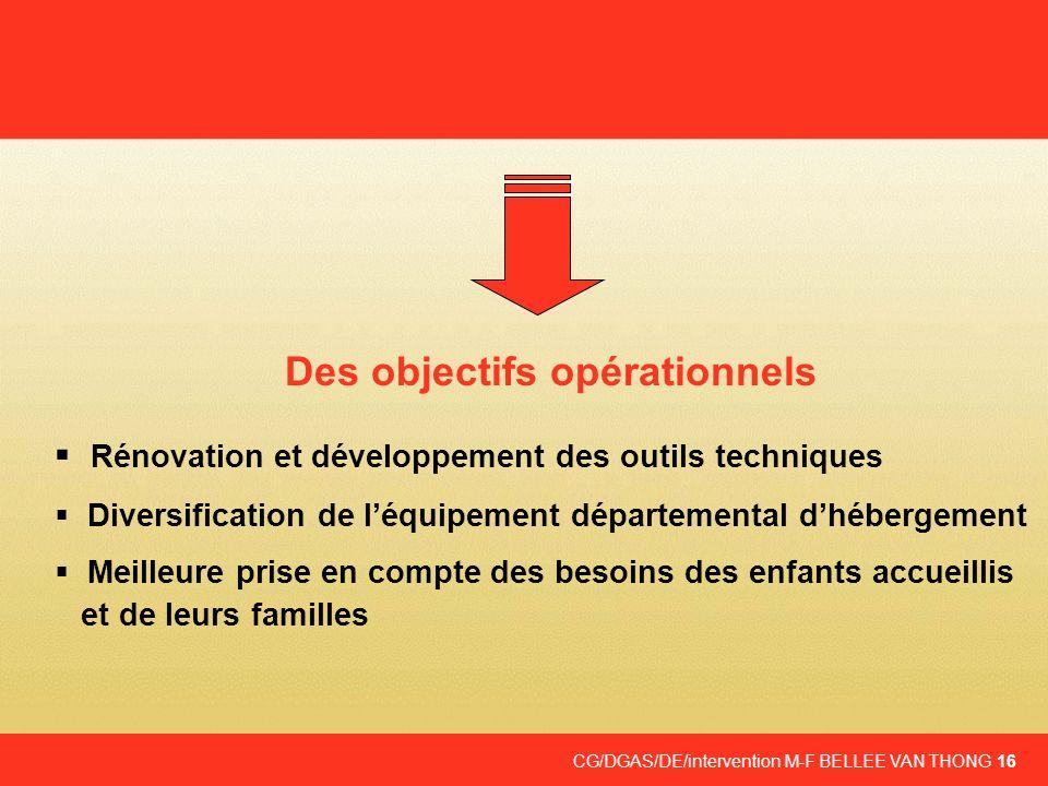 CG/DGAS/DE/intervention M-F BELLEE VAN THONG 16 Des objectifs opérationnels Rénovation et développement des outils techniques Diversification de léqui