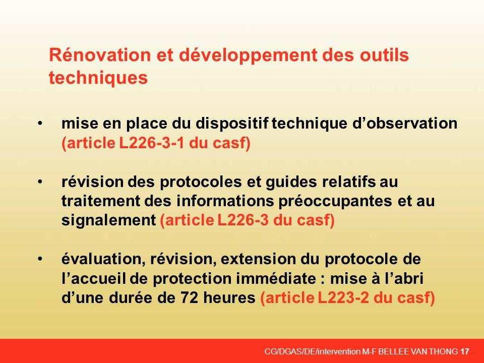 CG/DGAS/DE/intervention M-F BELLEE VAN THONG 17 mise en place du dispositif technique dobservation (article L226-3-1 du casf) révision des protocoles