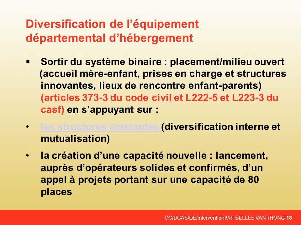 CG/DGAS/DE/intervention M-F BELLEE VAN THONG 18 Sortir du système binaire : placement/milieu ouvert (accueil mère-enfant, prises en charge et structur